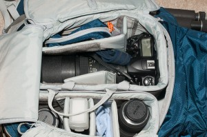 Main compartment showing the two open, zippered, cases. Plenty of room for a body, several lenses, and small accessories.