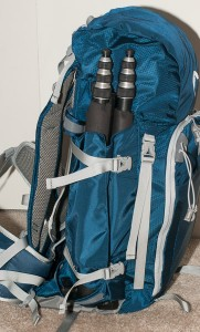 The tripod straps can hold a smaller tripod. The straps shown could also hold skis.